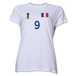 France 2014 FIFA World Cup Brazil(TM) Women's Number 9 T-Shirt (White)