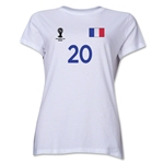 France 2014 FIFA World Cup Brazil(TM) Women's Number 20 T-Shirt (White)