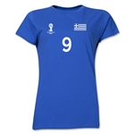 Greece 2014 FIFA World Cup Brazil(TM) Women's Number 9 T-Shirt (Royal)