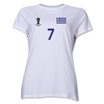 Greece 2014 FIFA World Cup Brazil(TM) Women's Number 7 T-Shirt (White)