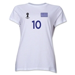 Greece 2014 FIFA World Cup Brazil(TM) Women's Number 10 T-Shirt (White)