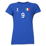 Italy 2014 FIFA World Cup Brazil(TM) Women's Number 9 T-Shirt (Royal)