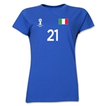 Italy 2014 FIFA World Cup Brazil(TM) Women's Number 21 T-Shirt (Royal)