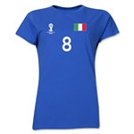 Italy 2014 FIFA World Cup Brazil(TM) Women's Number 8 T-Shirt (Royal)
