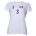 Italy 2014 FIFA World Cup Brazil(TM) Women's Number 3 T-Shirt (White)