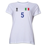 Italy 2014 FIFA World Cup Brazil(TM) Women's Number 5 T-Shirt (White)