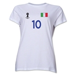 Italy 2014 FIFA World Cup Brazil(TM) Women's Number 10 T-Shirt (White)