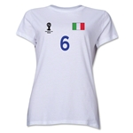 Italy 2014 FIFA World Cup Brazil(TM) Women's Number 6 T-Shirt (White)