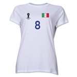 Italy 2014 FIFA World Cup Brazil(TM) Women's Number 8 T-Shirt (White)