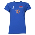 Netherlands 2014 FIFA World Cup Brazil(TM) Women's Number 10 T-Shirt (Royal)