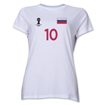Russia 2014 FIFA World Cup Brazil(TM) Women's Number 10 T-Shirt (White)