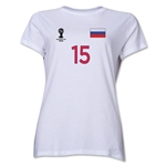 Russia 2014 FIFA World Cup Brazil(TM) Women's Number 15 T-Shirt (White)