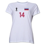 Russia 2014 FIFA World Cup Brazil(TM) Women's Number 14 T-Shirt (White)