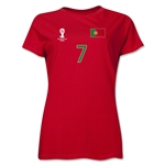 Portugal 2014 FIFA World Cup Brazil(TM) Women's Number 7 T-Shirt (Red)