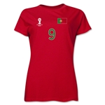 Portugal 2014 FIFA World Cup Brazil(TM) Women's Number 9 T-Shirt (Red)