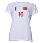 Portugal 2014 FIFA World Cup Brazil(TM) Women's Number 16 T-Shirt (White)
