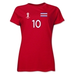 Costa Rica 2014 FIFA World Cup Brazil(TM) Women's Number 10 T-Shirt (Red)