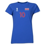 Costa Rica 2014 FIFA World Cup Brazil(TM) Women's Number 10 T-Shirt (Royal)