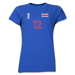 Costa Rica 2014 FIFA World Cup Brazil(TM) Women's Number 12 T-Shirt (Royal)
