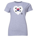 South Korea FIFA Women's World Cup Canada 2015(TM) Women's Heart Flag T-Shirt (Grey)