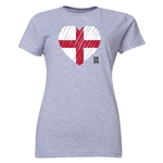 England FIFA Women's World Cup Canada 2015(TM) Women's Heart Flag T-Shirt (Grey)
