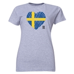 Sweden FIFA Women's World Cup Canada 2015(TM) Women's Heart Flag T-Shirt (Grey)