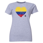 Colombia FIFA Women's World Cup Canada 2015(TM) Women's Heart Flag T-Shirt (Grey)