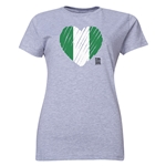 Nigeria FIFA Women's World Cup Canada 2015(TM) Women's Heart Flag T-Shirt (Grey)