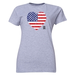 USA FIFA Women's World Cup Canada 2015(TM) Women's Heart Flag T-Shirt (Grey)