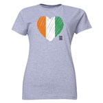Cote d'Ivoire FIFA Women's World Cup Canada 2015(TM) Women's Heart Flag T-Shirt (Grey)