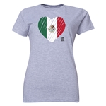 Mexico FIFA Women's World Cup Canada 2015(TM) Women's Heart Flag T-Shirt (Grey)