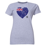 New Zealand FIFA Women's World Cup Canada 2015(TM) Women's Heart Flag T-Shirt (Grey)
