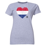 Netherlands FIFA Women's World Cup Canada 2015(TM) Women's Heart Flag T-Shirt (Grey)