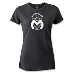 Morelia Monarcas Distressed Logo Women's T-Shirt (Dark Gray)
