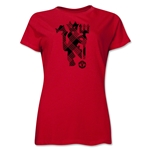 Manchester United Plaid Devil Women's T-Shirt (Red)