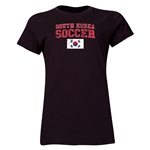 South Korea Women's Soccer T-Shirt (Black)