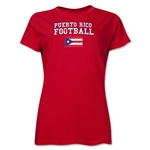 Puerto Rico Women's Football T-Shirt (Red)