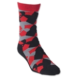 Under Armour GEO Heatgear Crew Sock (Blk/Red)
