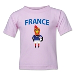 France Animal Mascot Kids T-Shirt (Pink)