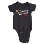 FC Santa Claus Don't Stop Believing Infant Onesie (Black)