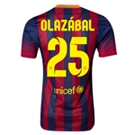 Barcelona 13/14 OLAZABAL Authentic Home Soccer Jersey