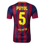 Barcelona 13/14 PUYOL Authentic Home Soccer Jersey