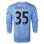 Manchester City 13/14 JOVETIC LS Home Soccer Jersey