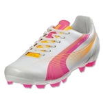 PUMA Women's evoSPEED 5 FG (Metallic White/Fluo Pink/Fluo Orange)