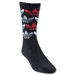 adidas Originals Allover Trefoil Crew Sock (Bk/Wh/Red)