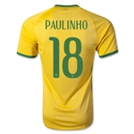 Brazil 2014 PAULINHO Authentic Home Soccer Jersey