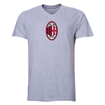 AC Milan Logo V-Neck T-Shirt (Gray)