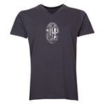 AC Milan Distressed Logo V-Neck T-Shirt (Heather Gray)