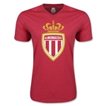 AS Monaco Soccer V-Neck T-Shirt (Heather Red)