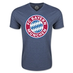 Bayern Munich Logo V-Neck T-Shirt (Heather Navy)